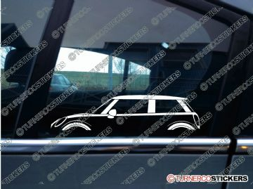 2x Car Silhouette sticker -  BMW Mini Cooper S hardtop ( F56, 2013+ )